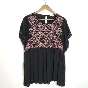 BOHO TEXTURED FLORAL EMBROIDERED BABYDOLL TOP XL